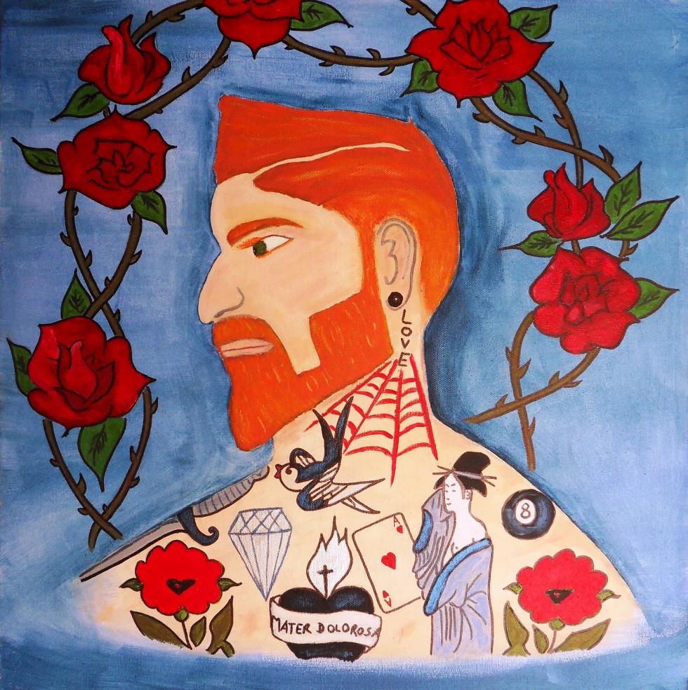Autoportrait tatoué - 50x50cm